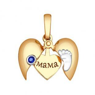 Золотая подвеска с пяточкой МАМА фото
