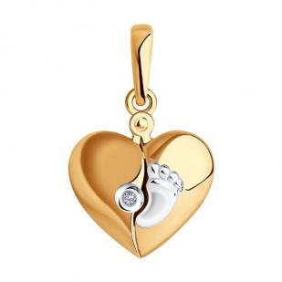 Золотая подвеска с пяточкой и бриллиантом МАМА фото
