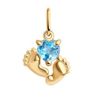 Золотой кулон с пяточками и голубым сердечком фото