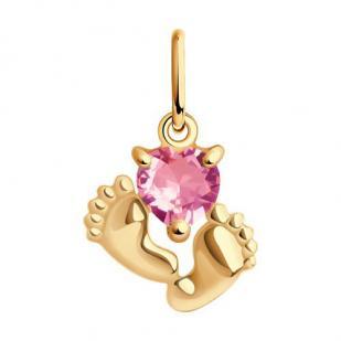 Золотой кулон с пяточками и розовым сердечком фото