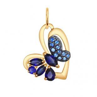 Золотая подвеска бабочка 731505