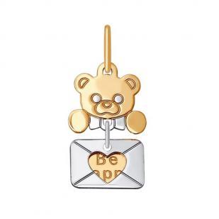Детский кулон Мишка золотой