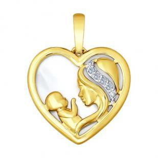 Кулончик Мама и малыш в желтом золоте фото