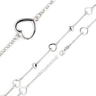 Серебряный браслет сердечки