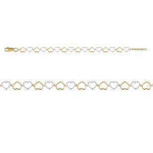 Золотой браслет с сердечками