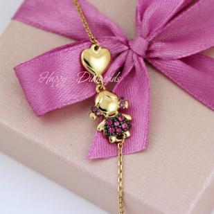 Золотой браслет с девочкой 050891 фото
