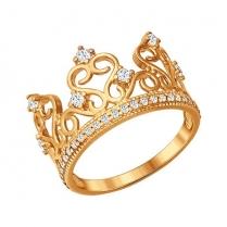 """Кольцо """"Корона"""" позолота фианиты"""
