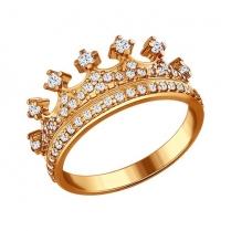 Кольцо Корона серебро позолота