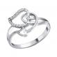 Кольцо Сердечки серебро