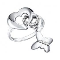 Кольцо Сердечко с бабочкой
