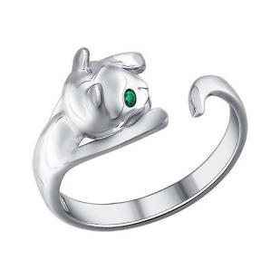 Кольцо Котенок серебро фото