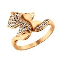 Кольцо Котята серебро позолота