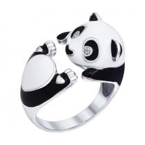 Серебряное кольцо Панда