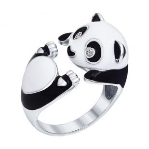 Серебряное кольцо Панда фото