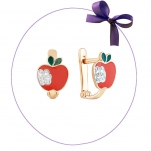 Детские серьги Яблочки с эмалью