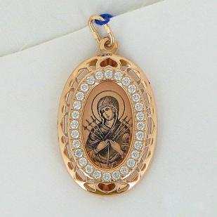 Золотая икона с камнями Семистрельная БМ арт 103495