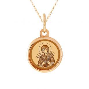 Детская золотая икона Семистрельной Божией Матери
