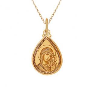 Золотая икона в форме капельки Казанская БМ