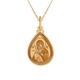 Золотая икона в форме капельки Владимирская БМ
