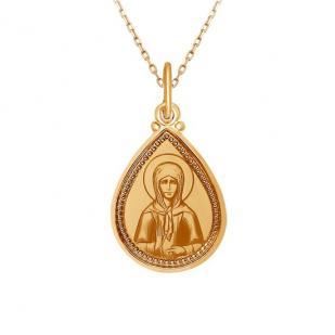 Золотая икона в форме капельки Святая Матрона