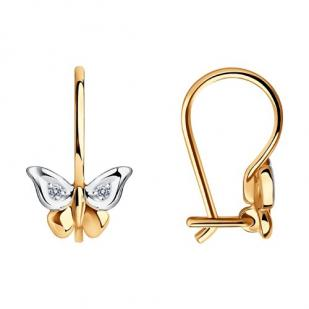 Детские сережки Бабочки с бриллиантами фото