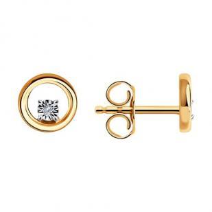 Золотые гвоздики кружочки с бриллиантами 1021694  фото