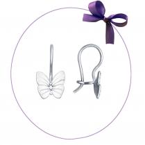 Серебряные серьги с белыми бабочками  арт. 94021638