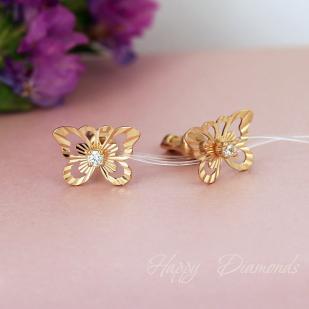 """Золотые серьги """"Порхающие бабочки"""""""