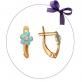 """Золотые серьги """"Цветочек"""" голубая эмаль"""