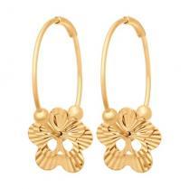 Золотые серьги - конго с  цветочками