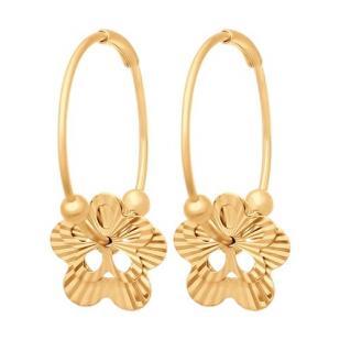 Золотые серьги - конго с  цветочками фото