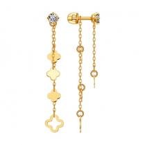 Золотые серьги цепочки Талисман