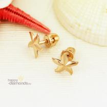 Золотые пусеты Морская звезда
