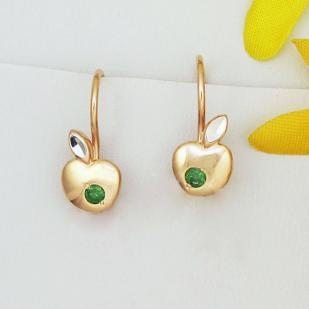 Детские серьги Зеленые яблочки золотые фото