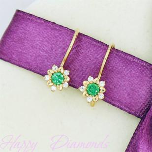 Серьги золотые Снежинки зеленый фианит
