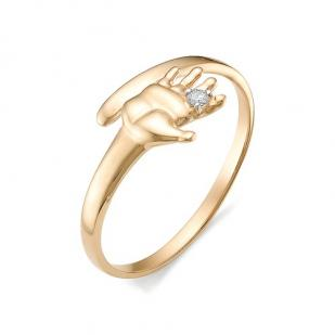 """Золотое кольцо с бриллиантом """"Ладошка"""""""