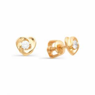 Гвоздики сердечки с бриллиантами из розового золота