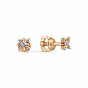 Интересные гвоздики с бриллиантами из розового золота