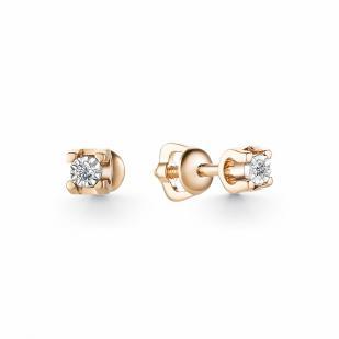 Стильные серьги пусеты с бриллиантами из розового золота