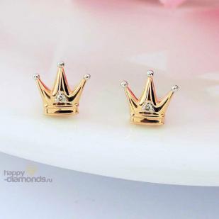 """Золотые пусеты с бриллиантами """"Принцесса"""""""