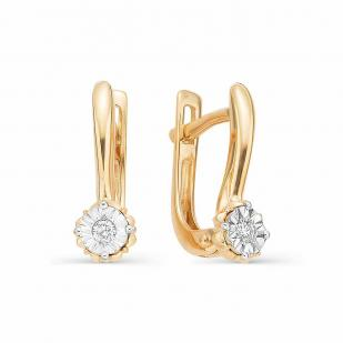 Серьги с бриллиантами из розового золота фото