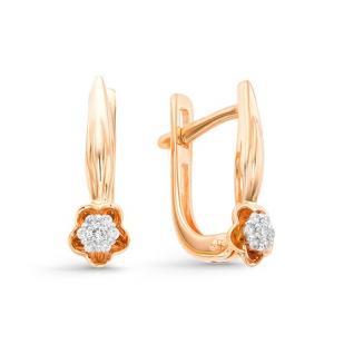 Красивые цветочные серьги с бриллиантами