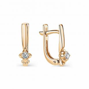 Аккуратные серьги из розового золота с бриллиантами