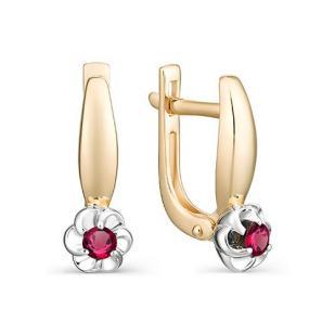 Золотые серьги Цветочек с рубином