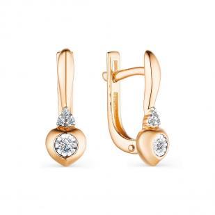 Золотые серьги с бриллиантами фото