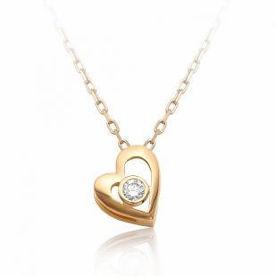 Золотое колье сердечко с бриллиантом 6073-100 фото
