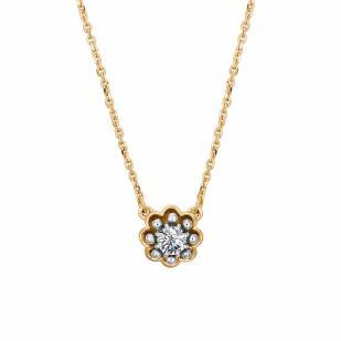 Золотая цепочка с кулоном и бриллиантом 6156-100 фото