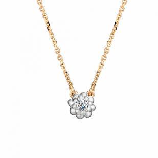Золотая цепочка с кулоном и бриллиантом 6182-100 фото