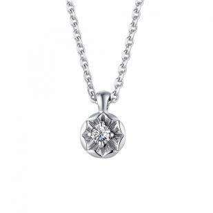 Цепочка из белого золота с кулоном и бриллиантом 63213-200 фото
