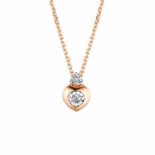 Золотое колье сердечко с бриллиантом 63490-100 фото